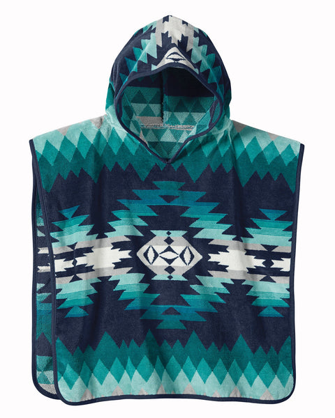 Pendleton Kids Papago Jacquard Turquoise Hooded Towel One Size