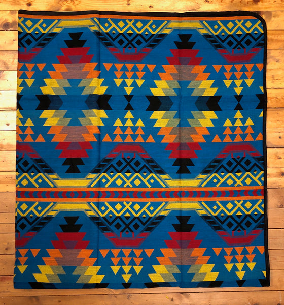 Southwest Tribal Inspired Bedspread, Rays, Blue