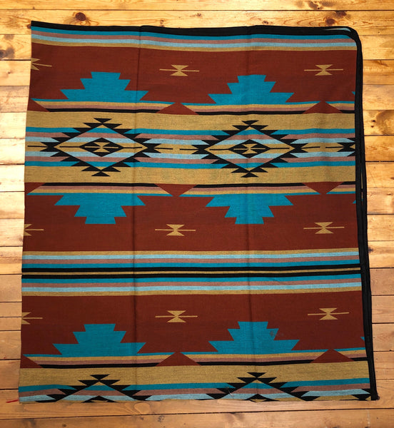 Southwest Tribal Inspired Bedspread, Spirit, Burnt Red