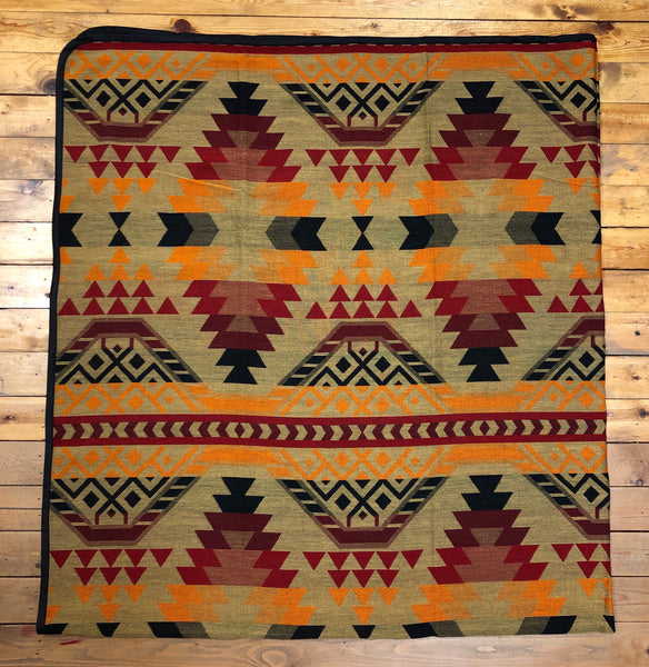 Southwest Tribal Inspired Bedspread, Chief, Khaki