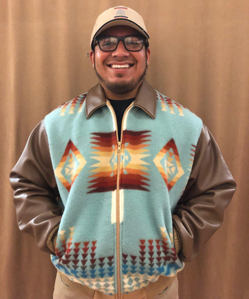 Leather Bomber Jacket, Chief Joseph Aqua