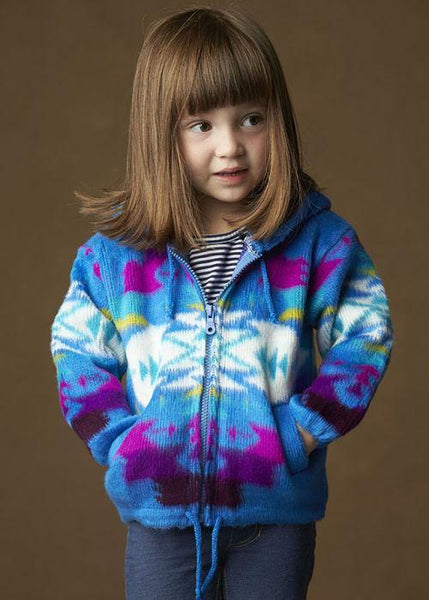 Kid's Earth Ragz, Zip Up Sweater, Blue
