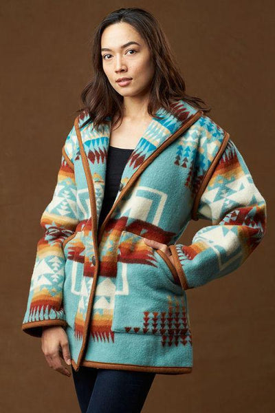 Kraff's Reversible Car Coat, Chief Joseph, Aqua_1