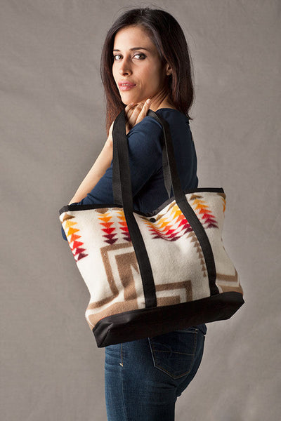Shopping Bag, Chief Joseph, White, Made with Pendleton® Fabric