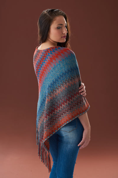 Two Sisters Fringed Poncho, Cherry