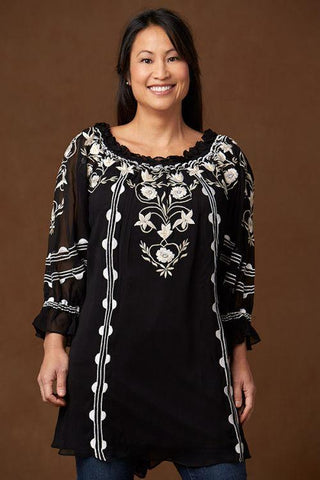 Lapis Knit Tunic Blouse, Black with White Floral Print