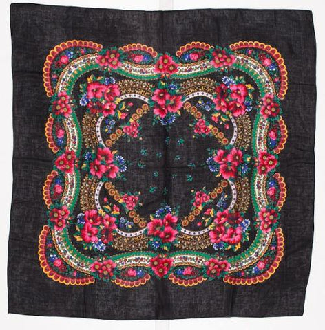 Large Floral Dance Scarf, Black