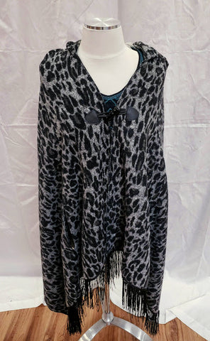 Leopard Print Fringed Poncho. Women's Poncho. Women's outerwear. Cripple Creek Poncho. On Sale! 40% off!