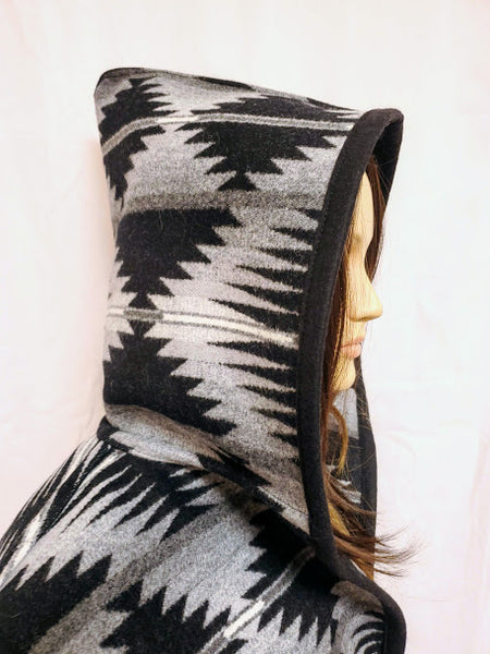 Long wool coat, black and silver geometric pattern in Falcon Cove by Pendleton.