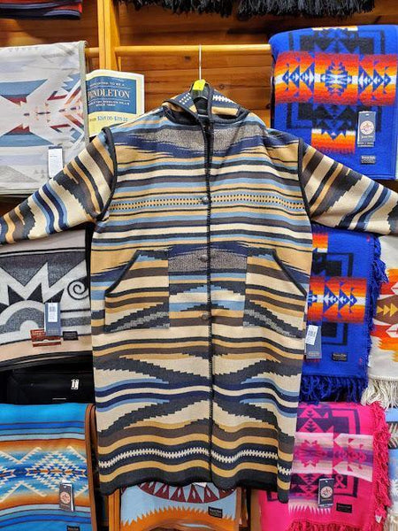 Long wool coat, multi color blue, tan and ivory in Rio Canyon by Pendleton.