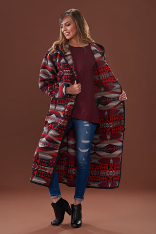 Long wool coat, multi-colored red, black, grey geometric shapes in La Paz Scarlet by Pendleton.