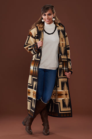 Long wool coat tan and black, with geometric accents in Oxford Harding by Pendleton.