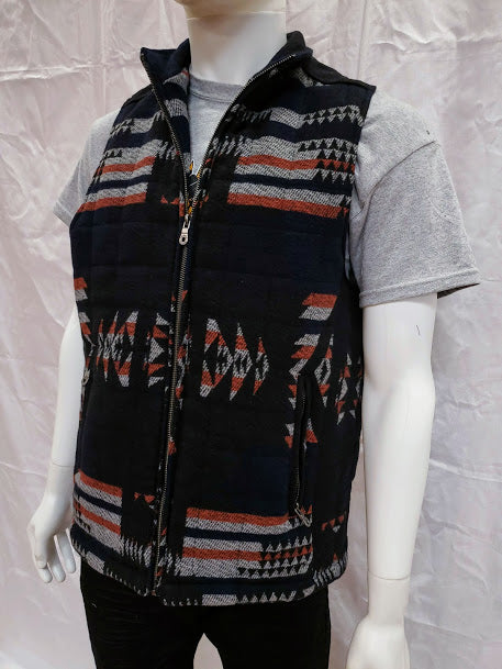 Men's Western Style Vest Navy Geometric Pattern Cripple Creek On Sale Now