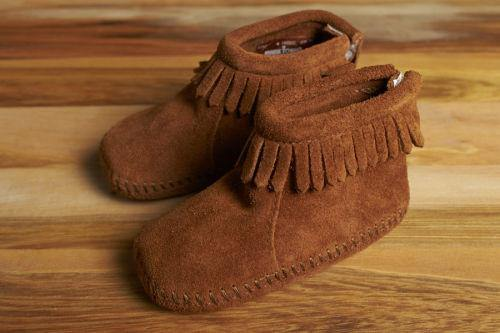 Minnetonka Moccasin Fringe Baby Bootie, Brown