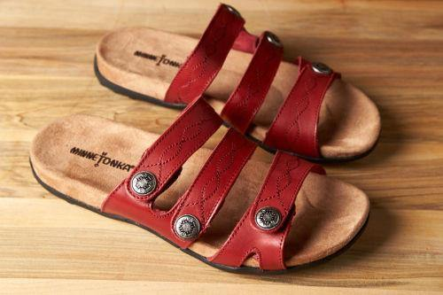 Minnetonka Moccasin Sandal, Ashbury, Red