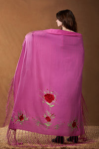 Native Dance Shawl, Antique Rose, Red Flowers