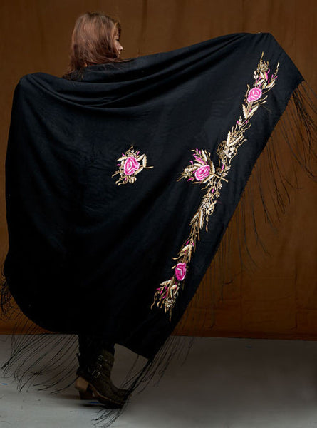 Native Dance Shawl, Black with Pink Flowers