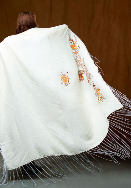 Native Dance Shawl, Ivory with Gold Flowers