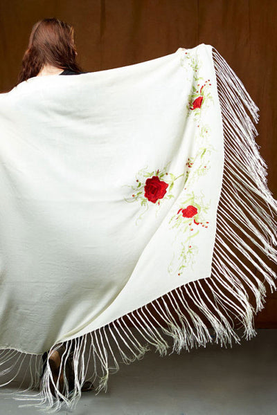 Native Dance Shawl, Ivory with Red Flowers