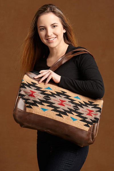 Native Inspired Duffle Bag, Tan