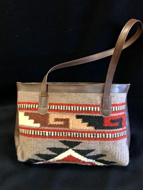Native Inspired Duffle Purse, Brown & Red