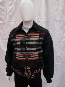 Men's Navajo Blanket Black Multi Color Snap Front Bomber Cripple Creek On Sale Now