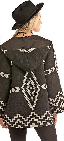 Panhandle Aztec Jacquard Wool Cape Coat