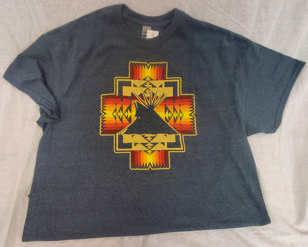 Tipi Native Themed Tee, Dark Heather