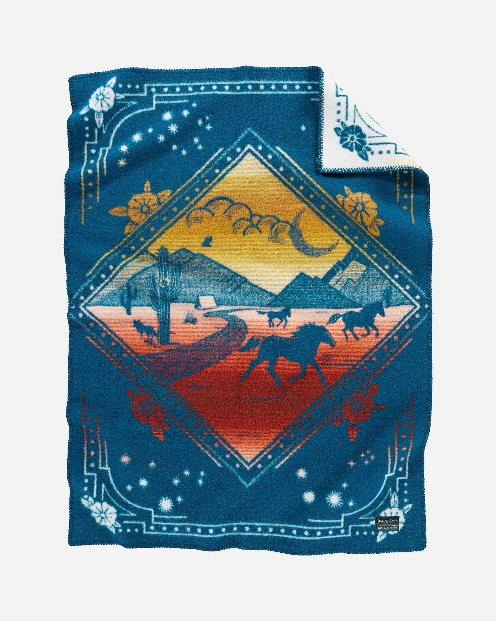 Pendleton wool blue baby blanket, with red and yellow accents and running horses in a mountain desert scene.