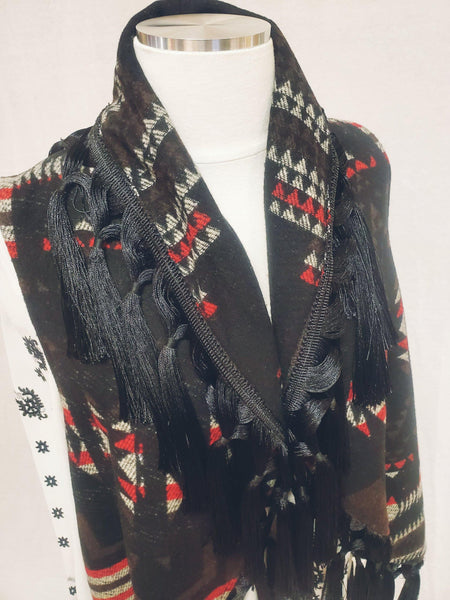 Cripple Creek Open Front Blanket Vest with Accent Fringe Trim