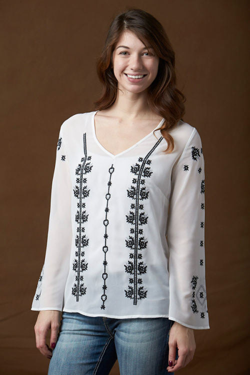 Rancho Estancia Black & White Southwestern Embroidery Blouse