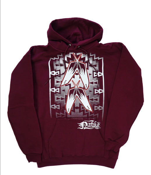 Native Feather Hoodie, Maroon