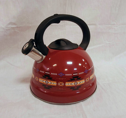 Red tea kettle with southwestern design.