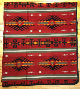 Southwest Tribal Inspired Bedspread, Diamond, Red