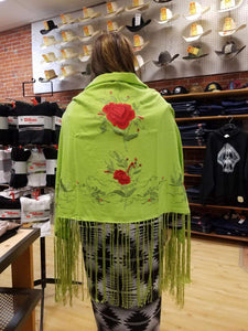 Native Dance Shawl, Lime with Red Flowers