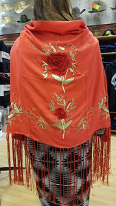 Native Dance Shawl, Coral with Red Roses & lime green vines