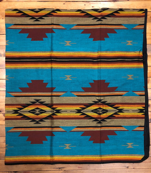 Southwest Tribal Inspired Bedspread, San Gregorio, Teal