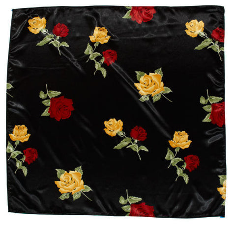 Sateen Regalia Scarf, Floral Multi-Black