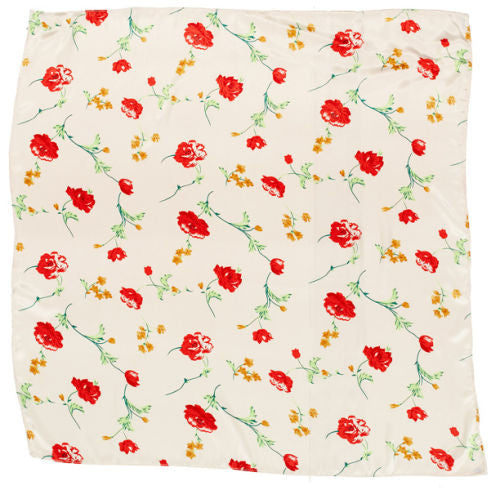 Sateen Regalia Scarf, Floral Multi-White