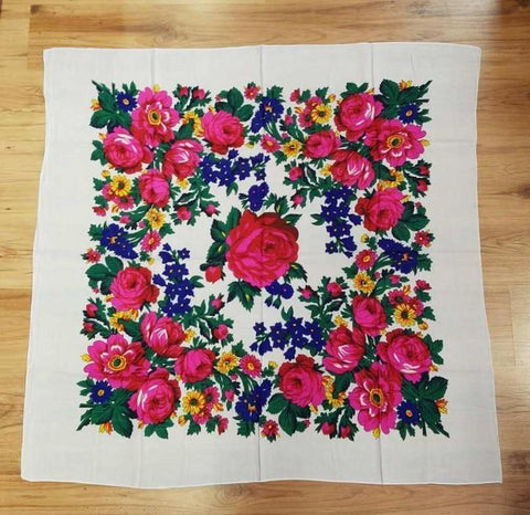 Large Ivory Floral Scarf