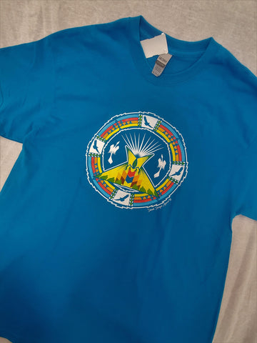 Tipi Rainbow Native Themed Tee, Turquoise