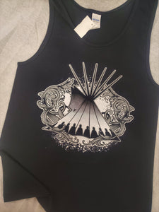 Tipi Swirl Native Themed Tank, Black - Kraffs Clothing