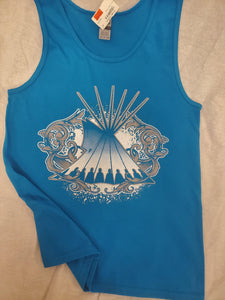 Tipi Swirl Native Themed Tank, Turquoise