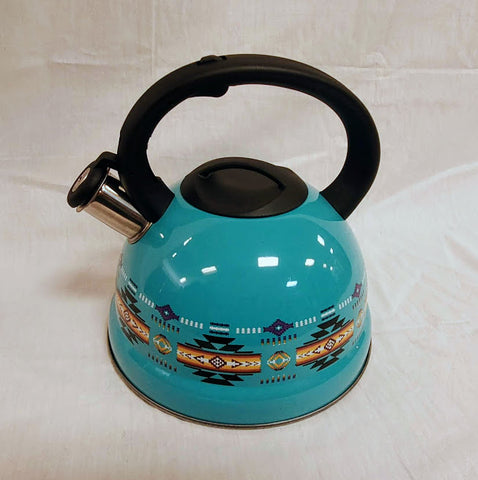 Turquoise tea kettle with southwestern design.