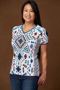 Women's Top in Geometric Print, Aztec Bling