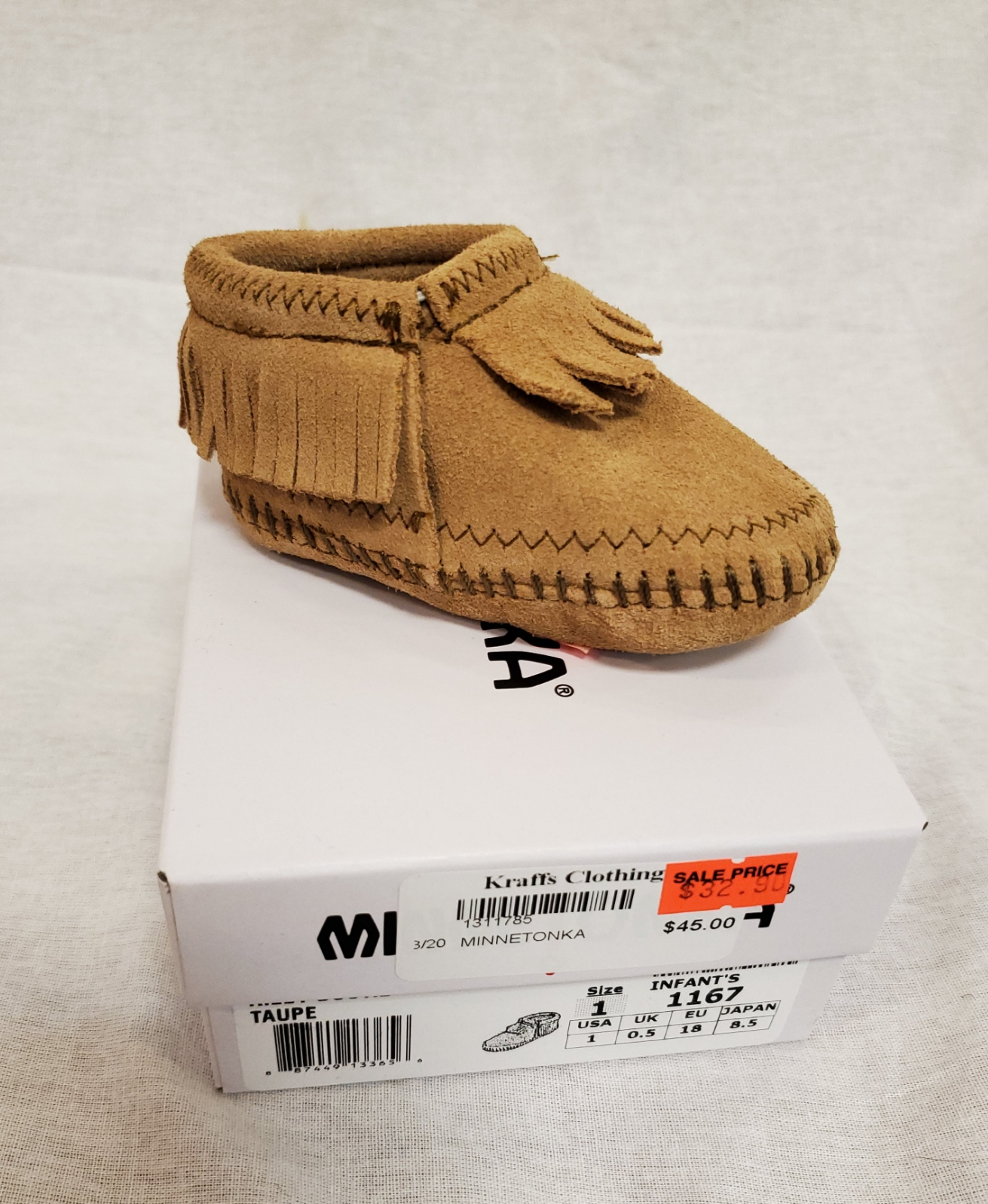 Minnetonka Infants Riley Bootie, Taupe - Kraffs Clothing
