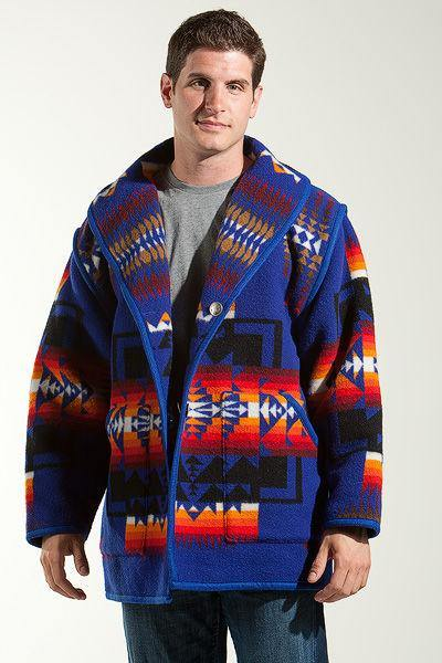 Kraff's Reversible Car Coat, Chief Joseph, Sapphire