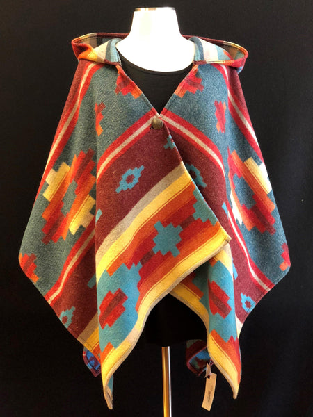 Kraff's Crystal Creek Hooded Poncho TURQUOISE