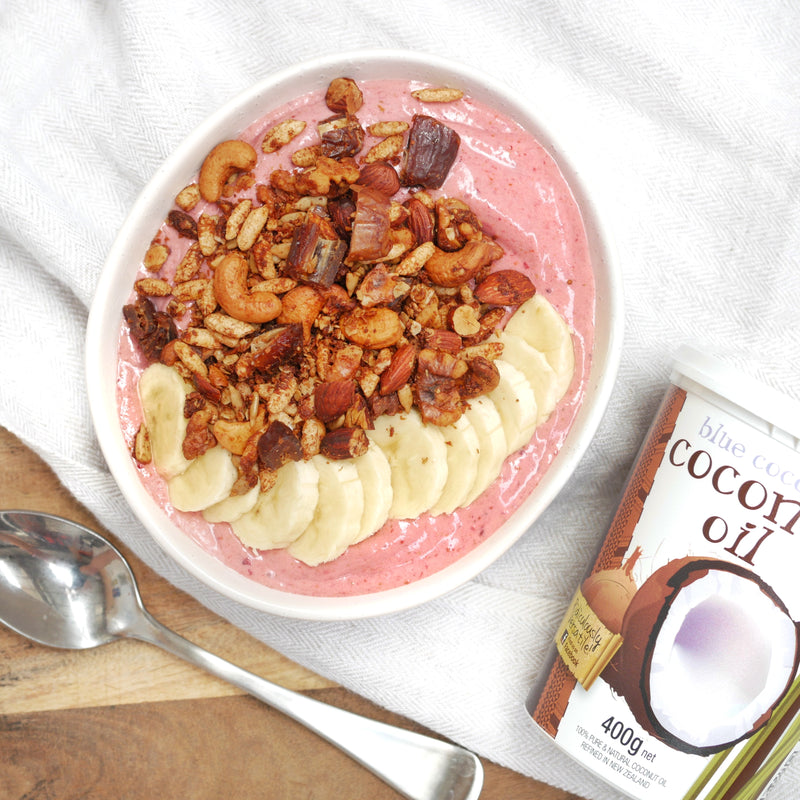 Strawberry Smoothie Bowl with Coconut & Date Muesli