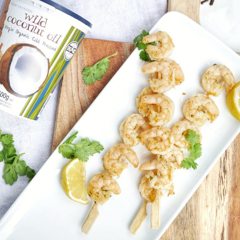 Lemon Garlic Prawn Skewers